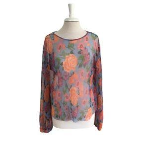 Zara Sheer Floral Top Medium Multicolor